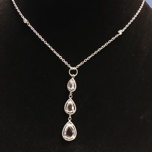 Silver necklace with clear stones